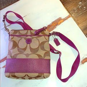 Faux Coach fabric crossbody/shoulder purse